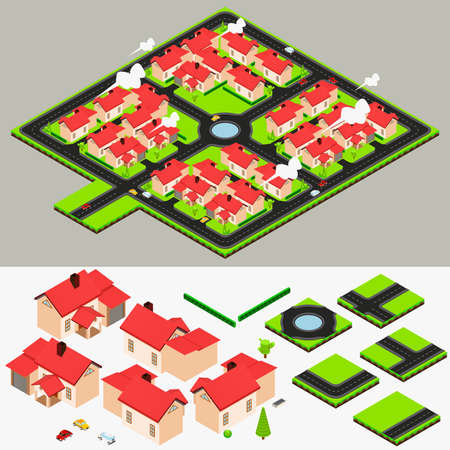 residential neighborhood: Isometric Cluster House Collection Set Illustration