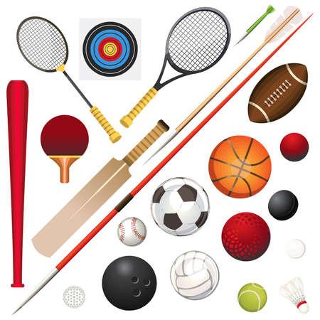 様々 なスポーツ用品のベクトル イラスト