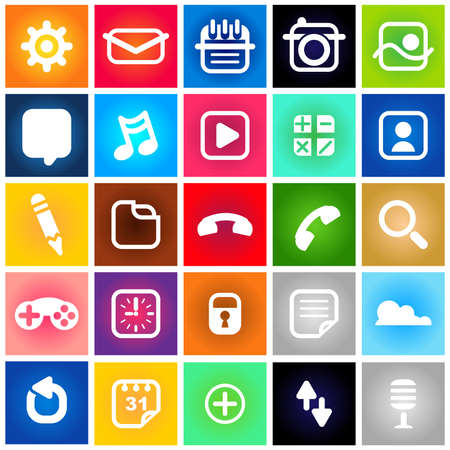 Metro Style Collection Set of Icons Vector