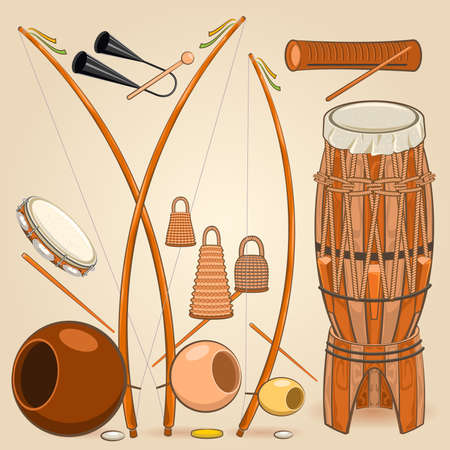 ブラジル カポエイラ音楽器械  イラスト・ベクター素材
