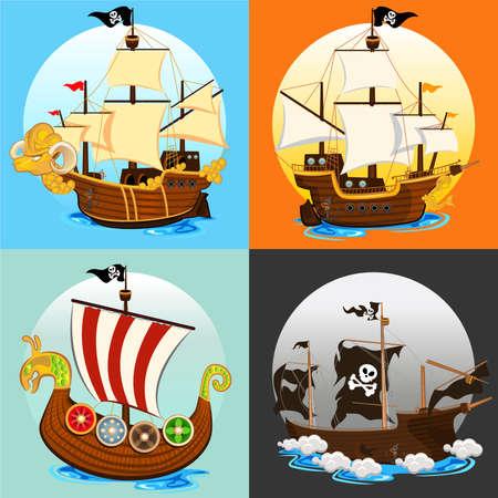 海賊船コレクション セット  イラスト・ベクター素材