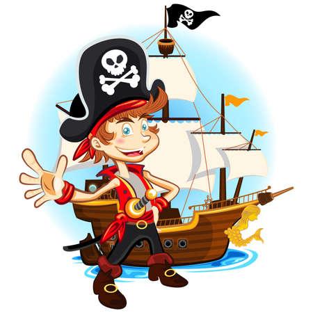 Piraat Kid en zijn grote Oorlog Schip Stock Illustratie