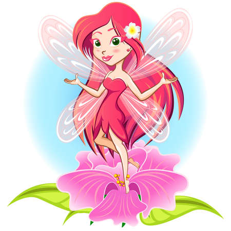Fairy Princess Flying Above a Flower Vector