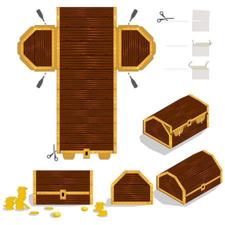 宝箱の包装箱の設計  イラスト・ベクター素材