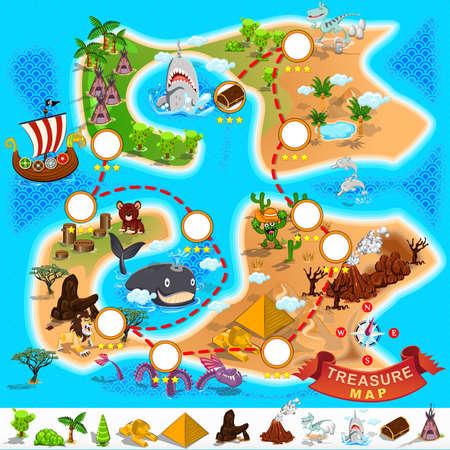 지도: 해적 보물지도 일러스트