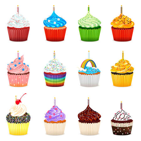 Cupcakes Vector Illustration Collection Set Vector
