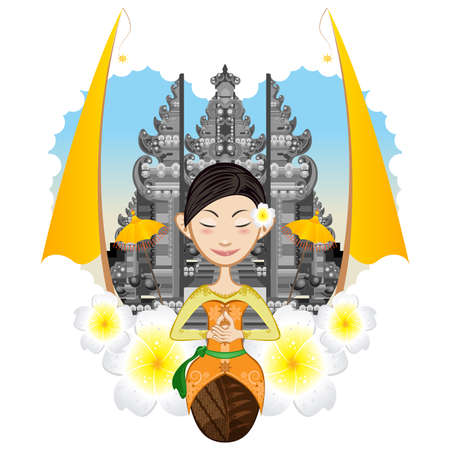 bali: Beautiful Balinese Girl Sitting With Background Of Pura, Hindhuism Temple Illustration