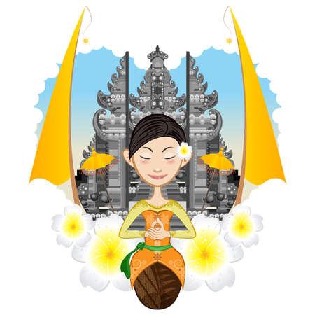 Prachtige Balinese Zitting van het Meisje met de achtergrond van Pura, Hindhuism Tempel