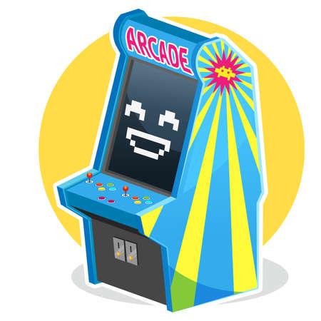 블루 빈티지 아케이드 머신 게임 일러스트