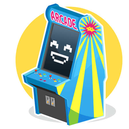 Blue Vintage Arcade Machine Game Illustration
