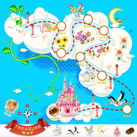 elf cartoon: Pirate Treasure Map Sky Castle