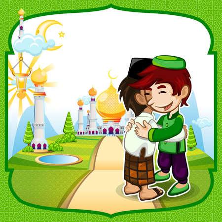 ramadhan: Moslem Islam Eid Mubarak Celebration Day Greeting Card
