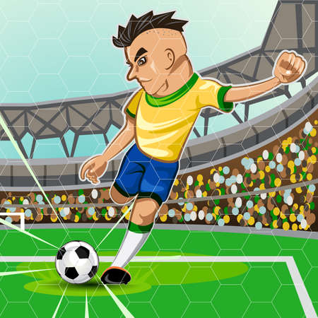 shootout: Brazilian Soccer Player Take A Penalty Kick In Front Of Goalkeeper Area Illustration