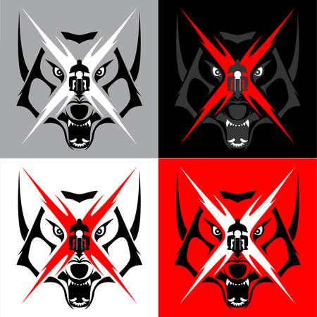 部族のコヨーテ、オオカミの紋章のタトゥー