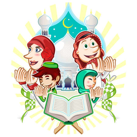 hijab: Islam Eid Mubarak Greeting Card Illustration