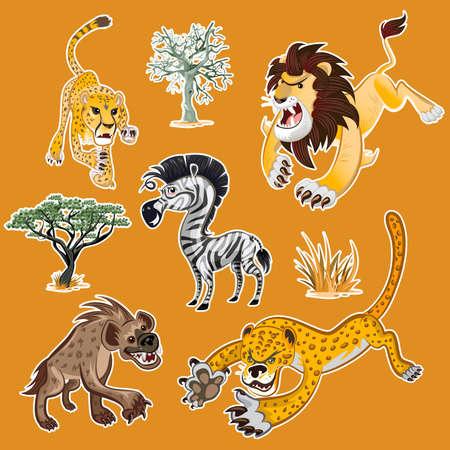 アフリカ動物のコレクション セットとゼブラ ライオン ヒョウ ハイエナ チーター ゼブラ アフリカの木を含むツリー