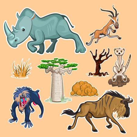 アフリカの動物・木コレクション セット