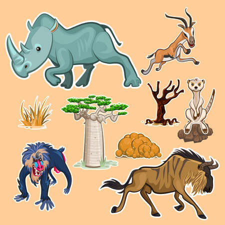 Africa Animals & Trees Collection Set
