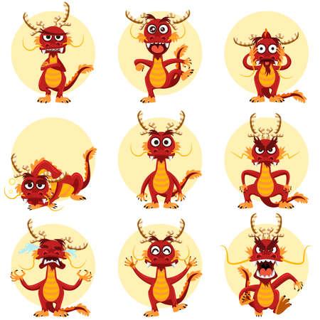 中国のドラゴンのマスコット絵文字セット