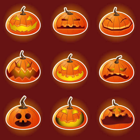 Halloween Pumpkin Character Emoticon Icons Vector