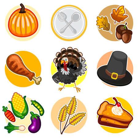 Happy Thanksgiving Sticker Icon Set