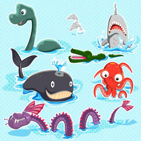 深い青い海コレクション セットのモンスター