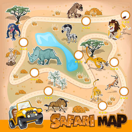safari: Africa Safari Map Wildlife Illustration