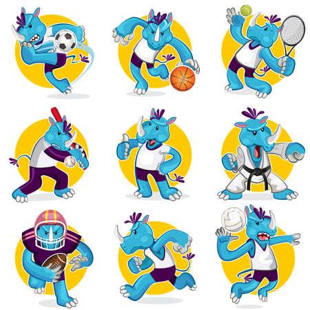 Rhino スポーツ マスコット コレクション セット