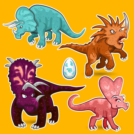 triceratops: Triceratops Rhino Dinosaurs Sticker Collection Set Illustration