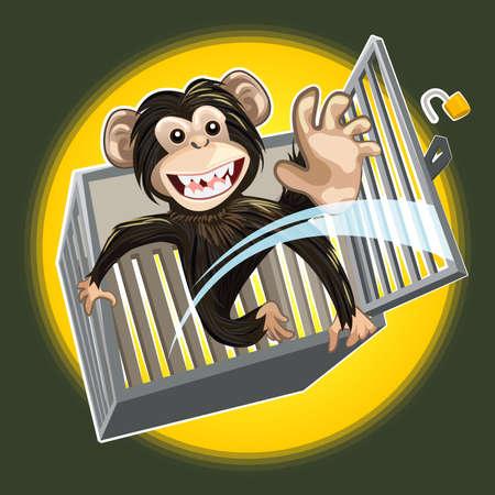 赤ちゃんチンパンジー速報ケージ  イラスト・ベクター素材