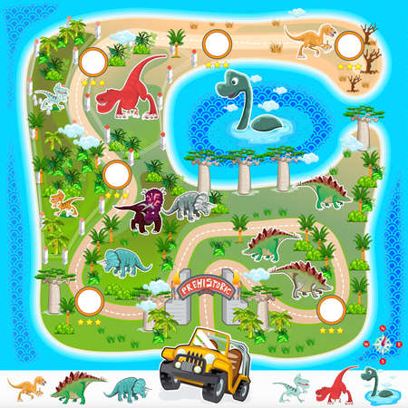 Prehistoric Zoo Map Collection 01  イラスト・ベクター素材