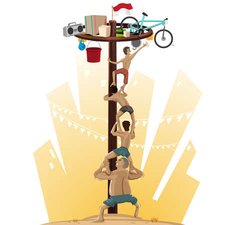 spirit: Panjat Pinang, Pole Climbing. Indonesian Independence Day Tradition, Offers Prizes For Those Who Scale Slippery Pole Illustration