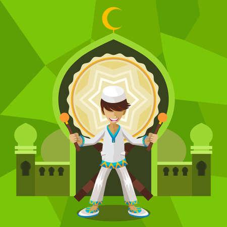 Illustration of Islamic Moslem Holiday Celebrating Ramadan Mubarak