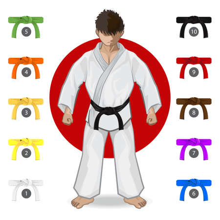KARATE Martial Art Belt Rank System 向量圖像