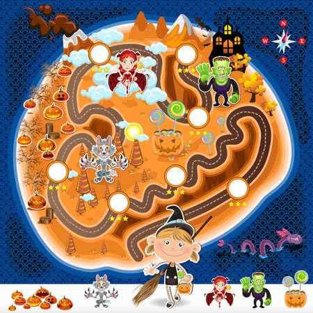 mapa del tesoro: Juego de Halloween Activos Mapa Vectores