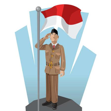 インドネシア愛国者彼の母インドネシア国旗に敬礼を与えて