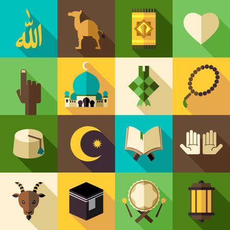 イスラム教フラットな近代的なアイコン ベクトル図 Eid Mubarak