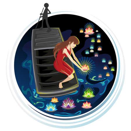 中国の伝統精神空腹の幽霊祭り川灯籠流し  イラスト・ベクター素材