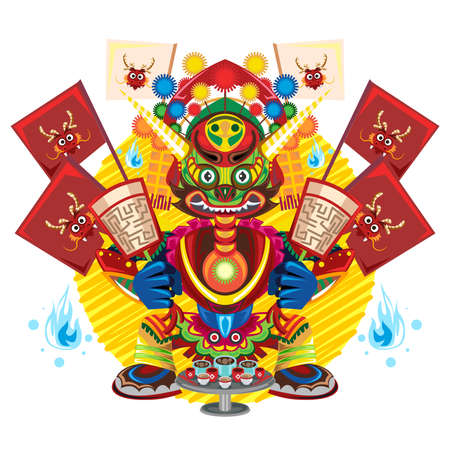 Hungry Ghost Day Festival,  Chinese Celebration That Permitting All Ghosts To Receive Food And Drink Иллюстрация