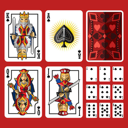 Spade Suit Playing Cards Full Set, include king queen jack and ace of spade Иллюстрация