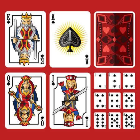 coeur en diamant: Spade Suit Playing Cards Set complet, comprend prise reine roi et as de pique