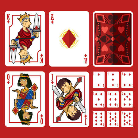 ace of spades: Diamond Suit Playing Cards Full Set, include King Queen Jack and Ace of Diamond