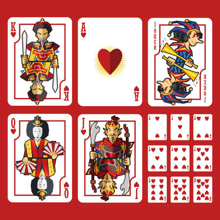 Heart Suit Playing Cards Full Set, include King Queen Jack and Ace of Heart