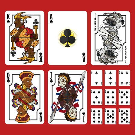 キング クイーン ジャックとエースのクラブは、クラブのフルセットのトランプのスーツ