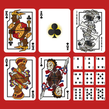 ace of spades: Club Suit Playing Cards Full Set, include King Queen Jack and Ace of Club