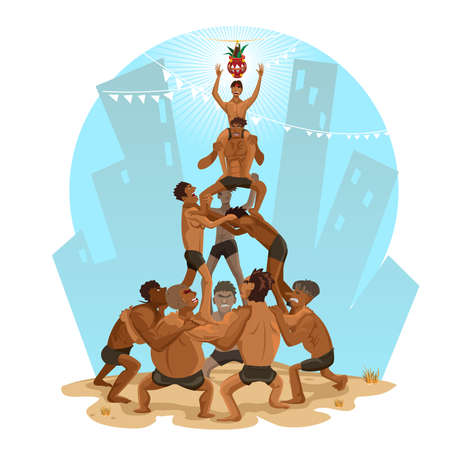 piramide humana: Janmashtami Dahi Handi Pir�mide humana Ilustraci�n Vectores