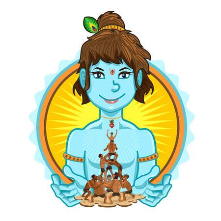 piramide humana: Janmashtami Dahi Handi Ilustración