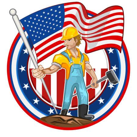 gewerkschaft: Amerikanische Arbeiter Labor Day amerikanische Worker Labor Mann-Holding-Amerika-Flaggen-Hammer Darstellen Worker Tag der Arbeit