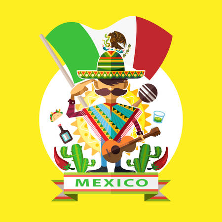 independence day: Illustration Of Mexican Man Mariachi Salute To Mexico National Flag With Background Of Mexican Iconic Culture