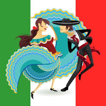 taniec: Jarabe Meksyk Mexican Hat Narodowy Taniec Taniec Ilustracja